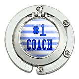 #1 Coach Number One Sports Athletics Foldable Table Bag Purse Caddy Handbag Hanger Holder Hook with Folding Compact Mirror