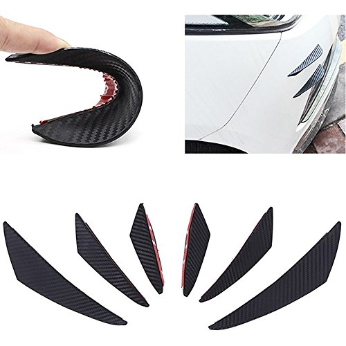 MAXTUF Front Bumper Lip Splitters, 6Pcs Carbon Fiber Style PVC Stamping Fins Spoilers Bumper Canards External Body with 3M Adhesive Easy to Install Fit for Most of Cars