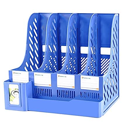 ZDDAB File Holder 4 Column Office Storage Box A4 Folder Student Locker Storage Box Organize Basket