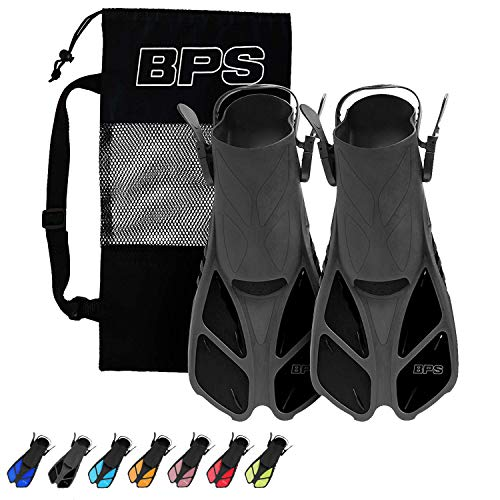 BPS Short Blade Swim Fins - with Adjustable Strap and Open-Toe, Open-Heel Design - for Swimming, Diving, Snorkeling, Scuba Diving - for Kids and Adults - Comes with Carry Bag (Black - L/XL)