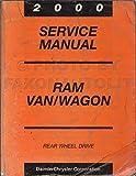 2000 Dodge Ram Van & Wagon Repair Shop Manual Original B1500-B3500