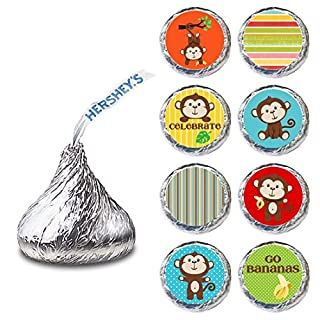 Monkey Label for HERSHEY'S KISSES® chocolates - Birthday and Baby Shower Candy Stickers - Set of 240
