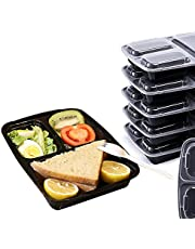 Compartments Meal Prep Container (Pack of 10) - Reusable Food Storage Containers with Lid - Portion Control Lunch Bento Box – Microwaveable, Freezer & Dishwasher Safe, Stackable
