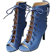 MERUMOTE Women's Peep toe Slingback-Sandals Lacing Ankle High Boots Sandals Shoes