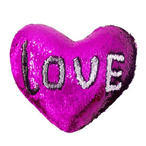 J-hong Mermaid Throw Pillow Insert,Two-Color Heart Shape Reversible Sequins Decorative Pillow. 13