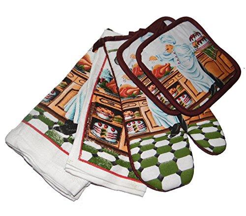 Chef Secret 7 Piece (7 Piece Chefs Kitchen Set with Potholders, Oven Mitt, Dish Cloths & Towels)