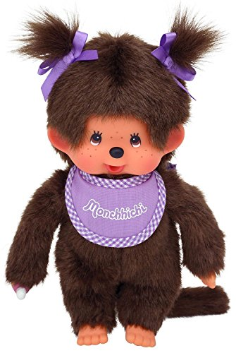 Monchhichi Girl - Purple Bib