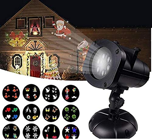 Christmas Projector Lights Outdoor, Jeniulet 12 Patterns Waterproof Decorations Indoor LED Light White Moving Light Snowflake Lamp for Landscape Garden Holiday Party