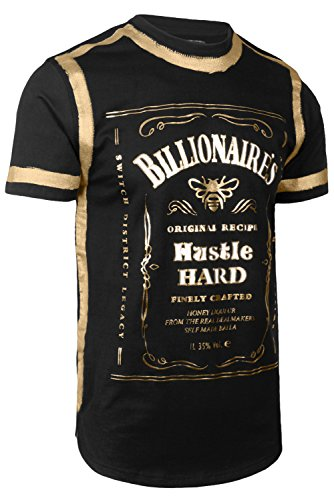 - JC DISTRO Mens Hipster Elong Whiskey Gold Foil Prints Round Hem Crewneck Black T-Shirt L