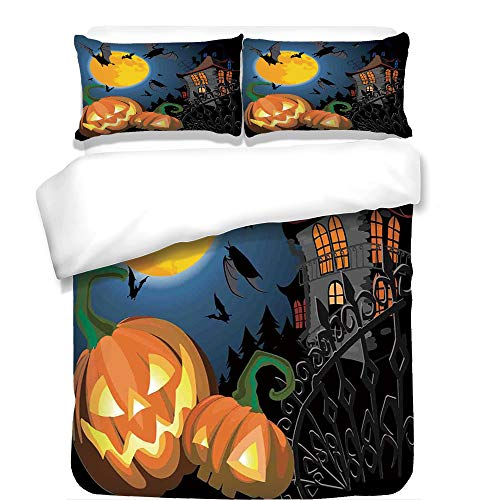 iPrint 3Pcs Duvet Cover Set,Halloween Decorations,Gothic Halloween Haunted House Party Theme Decor Trick or Treat for Kids,Multi,Best Bedding Gifts for Family/Friends