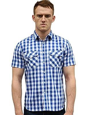 Allegra K Men Point Collar Patch Pockets Short Sleeves Checks Button Down Shirt