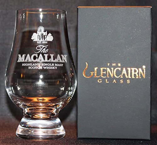 MACALLAN GLENCAIRN MALT SCOTCH WHISKY TASTING GLASS WITH BLACK AND GOLD PRESENTATION BOX -
