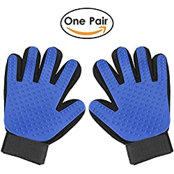 Pet Grooming Glove - Pet Glove Massage Magic Hair Remover - Perfect for Dogs & Cats with Long & Short Fur - 1 Pair