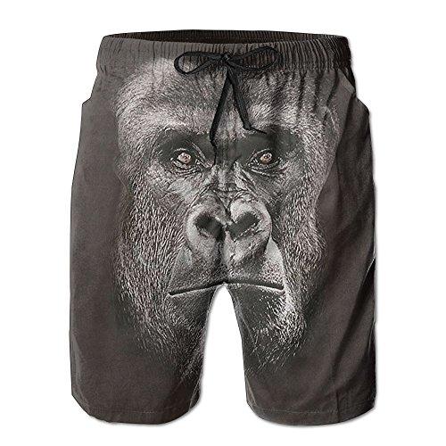 - Men's Swim Trunk Big Face Lowland Gorilla Quick Dry With Mesh Lining Porkets Beach Board Shorts Pants Swimwear