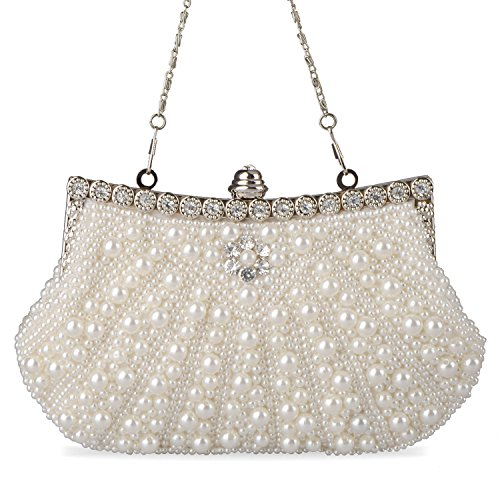 Bead Fashion Chain Evening Pearl with Clutch Baglamor Beige Womens Purse Rhinestone 1nfEqYFw