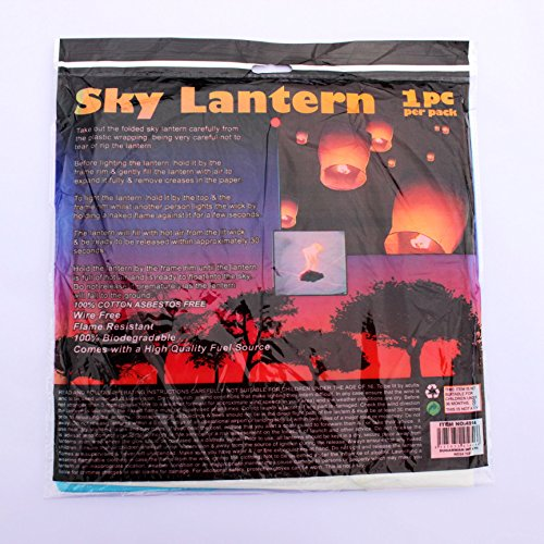 (JenJen Sky Lanterns Biodegradable Hand-maded Chinese Lantern with Fuel Cell Attached Red Blue White Sky Lanterns in Memory of -3 Pcs)