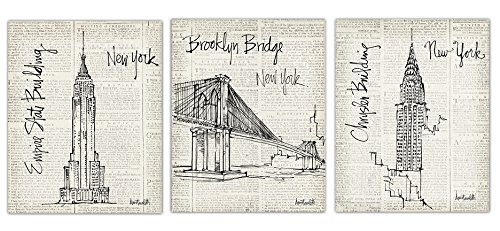 Gango Home Decor Trendy Newspaper-Style New York Empire State Building, Brooklyn Bridge and Chrysler Building Sketch Set by Anne Tavoletti; 3-8x10in Paper Posters ()