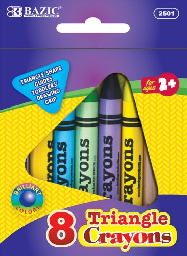 Bazic Products 8 Color Premium Quality Super Jumbo Triangle Crayons - Set of 12 Packs