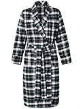 Latuza Women's Cotton Flannel Robe M Black & Green