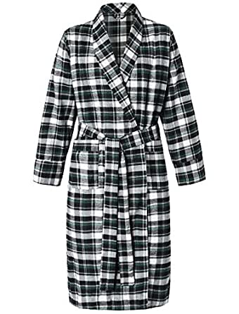 Latuza Women's Cotton Flannel Robe S Black & Green