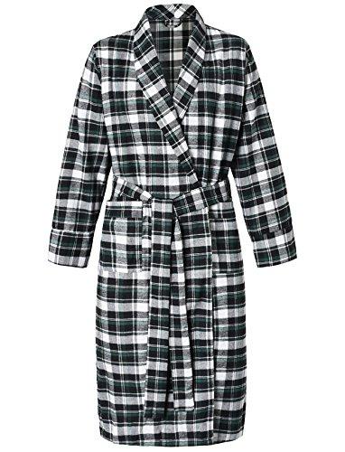 (Latuza Women's Cotton Flannel Robe S Black & Green)