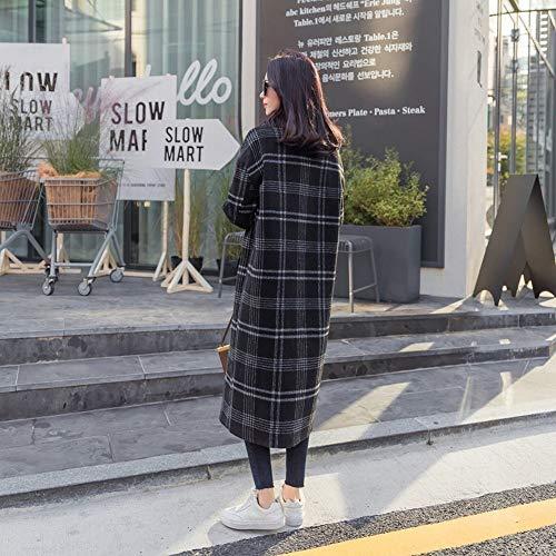 Negro Invierno Tartán Cllcr Gruesa Suelta Cintura Abrigo Largo De Mujer Lana vYBx7q