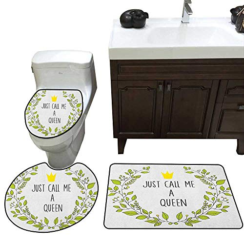 (Moeeze-Home Queen Lid Toilet Cover Bath Mat Wreath Branches with Lettering Just Call Me Queen Little Crown Bathroom Floor Mat Sets Yellow Apple Green Charcoal Grey)