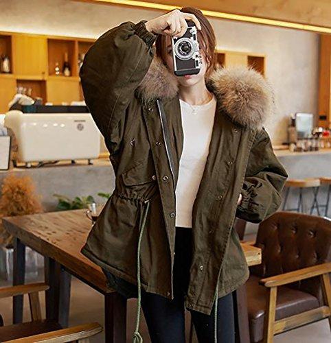 Manteau Manteaux Rembourrage Femme YouPue Chaud Veste Hiver Vert Blouson Parka Surdimensionne avec Fourrure Capuche FgCxnf