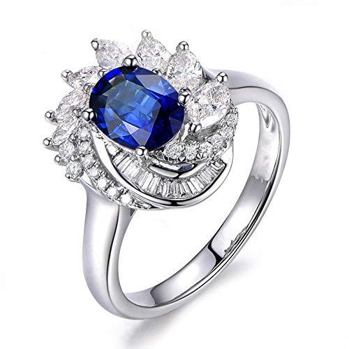 MoAndy Wedding Rings for Women Sterling Silver Jewelry Oval Shape Blue Sapphire Multi Shape Zircons Size 7