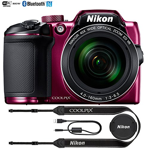 Nikon COOLPIX B500 16MP 40x Optical Zoom Digital Camera w/ Wi-Fi (Plum) - (Certified Refurbished)