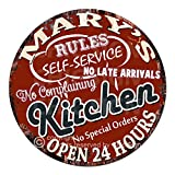 kitchen nook ideas Mary'S My Rules Kitchen Rules Self Service Open 24 Hours Chic Tin Sign Birthday Valentine's Day Mother's Day Christmas Housewarming Party Gift for Women Coffee Nook Decor Ideas