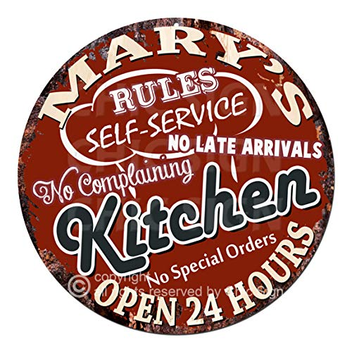 Mary'S My Rules Kitchen Rules Self Service Open 24 Hours Chic Tin Sign Birthday Valentine's Day Mother's Day Christmas Housewarming Party Gift for Women Coffee Nook Decor Ideas