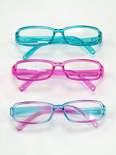 "Three Pairs Multicolored Reading Glasses | Fits 18"" American"