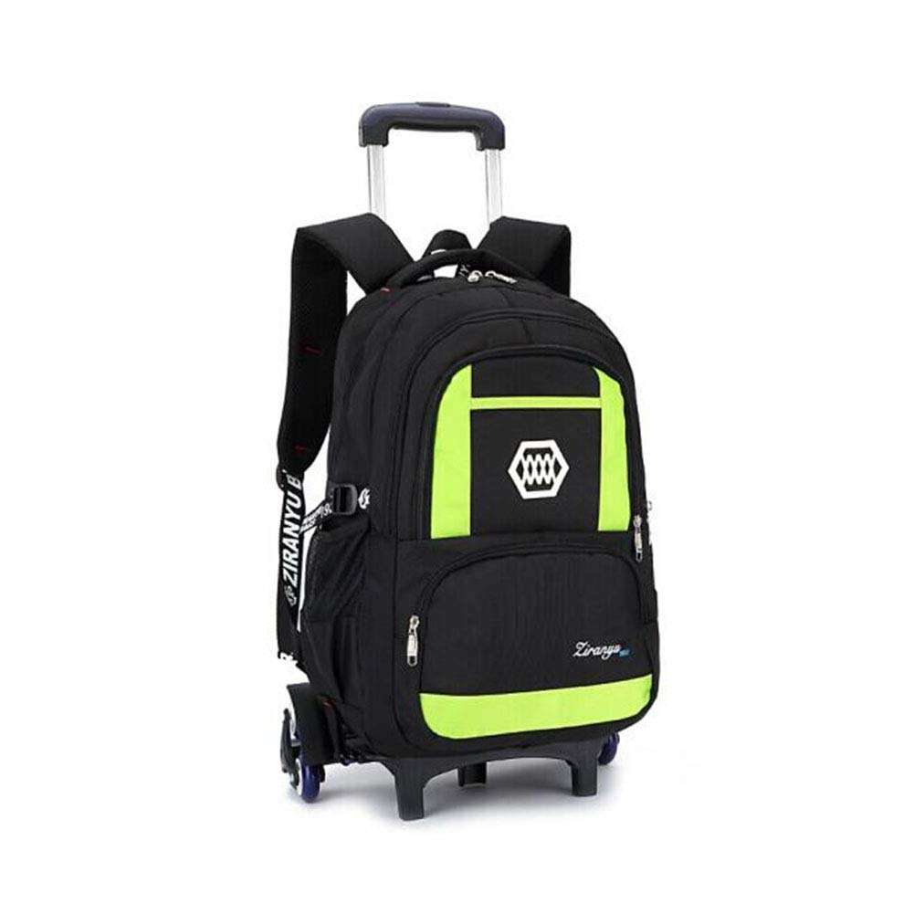 QY Primary School Student Towstick Bag Hand-held Men and Women Pulley Towable Shoulder Bag Push-Pull Package Trolley Backpack Six Rounds Color : Black QY