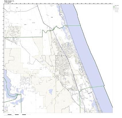 Map Of Palm Coast Florida.Amazon Com Palm Coast Fl Zip Code Map Laminated Home Kitchen