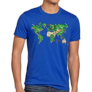 style3 Mario Mapamundi Camiseta para Hombre T-Shirt Videojuego videoconsola SNES n64