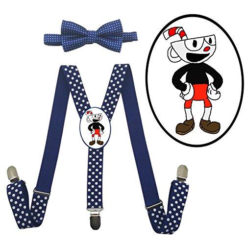 App Costume Ideas (LSL Cuphead Kids ' Suspender+Bow Tie/Unisex Suspender/Adjustable Suspender)