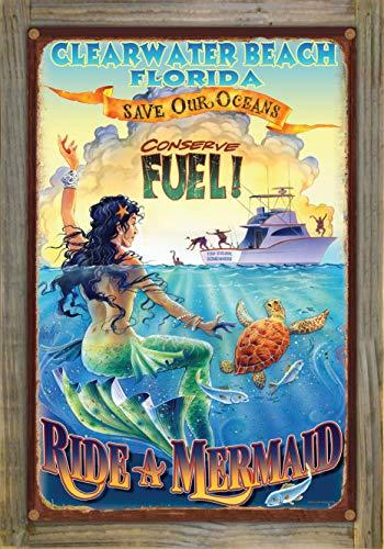 Northwest Art Mall Ride a Mermaid Clearwater Beach Florida Rustic Metal Print on Reclaimed Barn Wood by Jim Mazzotta (12