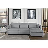 L-Shape Living Room Real Leather Sectional Sofa with Chaise Lounge (Light Grey)
