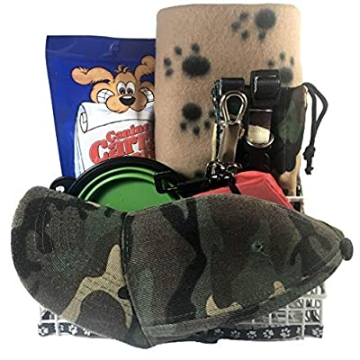 8-Pc-Camouflage-Dog-Gift-Basket-for-Small-to-Med-Dog-Includes-Collar-Leash-Set-39x-27-Paw-Print-Blanket-Two-Portable-Travel-Bowls-Tote-Bag-Dog-Treat-Adult-Camouflage-Baseball-Cap-by-HayMa