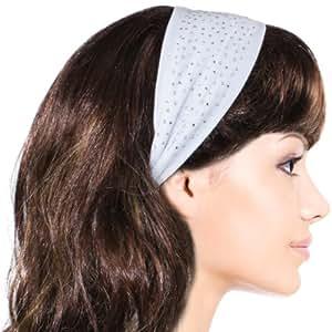 Simple Sparkling Rhinestone Stretch Headband - White (1 Pc)