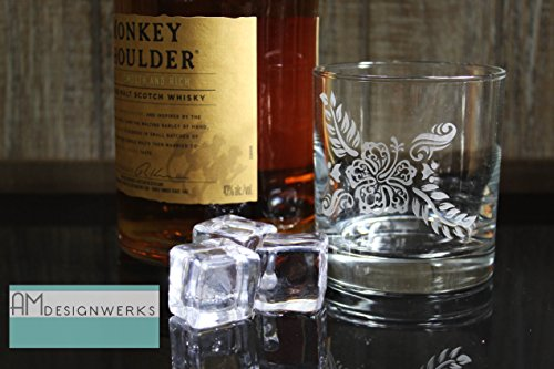 (Hand Etched Premium Hawaiian Styled Tropical Flower Whiskey Bourbon Rocks Glass)