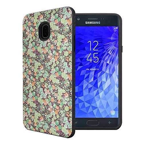 Green Azalea - Capsule Case Compatible with Samsung Galaxy J7 2018 (J737), J7 Star, J7 Aero, J7 Refine, J7V 2nd Gen, J7 Crown, J7 Eon [Embossed Diagonal Layer Slim Case Black] - (Green Azalea)