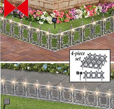 Decorative 4 Piece Solar Wrought Iron Metal Look Garden Border Fence