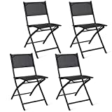 Giantex Set of 4 Outdoor Patio Folding Chairs Camping Deck Garden Pool Beach Furniture (Black)
