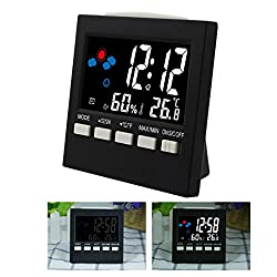 A-SZCXTOP Multi-functional Digital Thermo-hygrometer HTC-1 LCD Display Monitor Temperature and Humidity Meter with Sound Operated Switch Weather and Alarm Clock Indoor & Outdoor