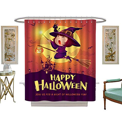 Iuvolux Shower CurtainHappy Halloween Halloween Flying Little Witch Girl Kid in Halloween Costume Holds a Magic Wand Retro Vintage Textile Bathroom Decoration Decor W36 x H72 Inch