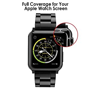 Simpeak Glass Screen Protector for Apple Watch 38mm, HD Clear 3D Curved Full Coverage Tempered Glass Anti-Scratch Anti-Bubble for 38mm Apple Watch Series 3/2/1 - Black from Simpeak