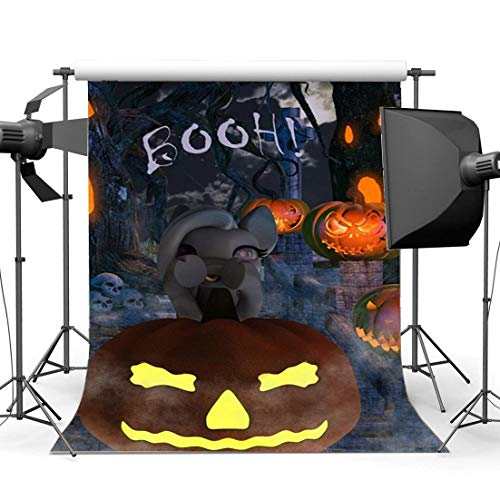 (SZZWY Halloween Horror Night Backdrop 6X9FT Vinyl Scary Haunted Castle Backdrops Skulls Spooky Pumpkins Lamps Trick or Treat Photography Background for Kids Adults Masquerade Photo Studio Props)