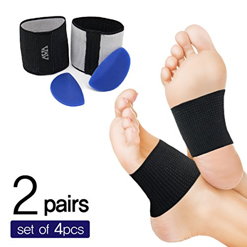 Cushioned Arch Supports-plantar fasciitis braces & Detacheable Soft Gel Cushions(DIY) - Compression Sleeve Wrap to Relieve Foot Pain, Flat Feet, Heel spurs(2 PAIR SET- (Acorn Gel)